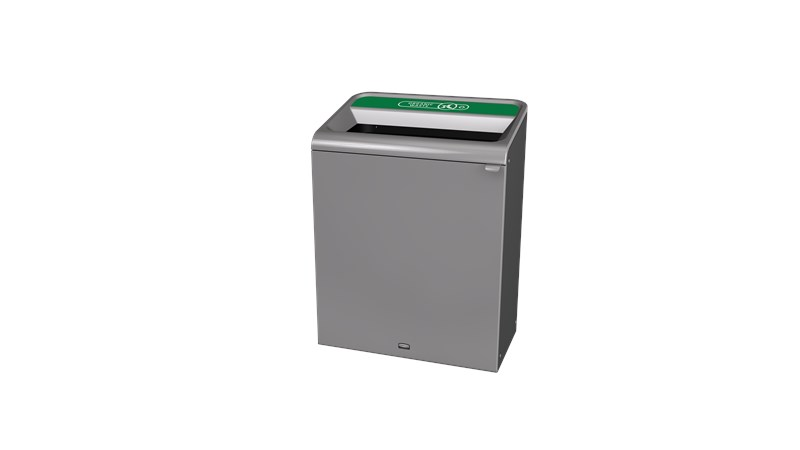 "The Configure™ Decorative Waste Containers provide a recycling solution with sleek, smooth surfaces and contoured edges. This recycling system has a modern appearance that will fit seamlessly into any indoor or outdoor commercial environment. Please note: this SKU is a Configure™ 1-Stream 45 Gallon container with an ""Organic Waste"" label."