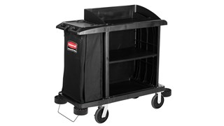 The Executive Compact Housekeeping Cart is a complete system solution for housekeeping. Adjustable storage options easily accommodate specific cleaning supply needs and provide flexibility.