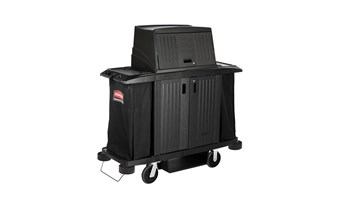 The Executive Full-Size Housekeeping Cart with Hood and Doors is a complete system solution for housekeeping with optional double bag collection and adjustable shelves.
