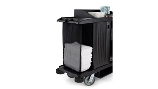 The Side-Load Mesh Linen bag for Housekeeping Carts increases capacity for clean linens without the need for a larger cart.