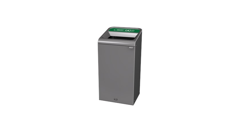 "The Configure™ Decorative Waste Containers provide a recycling solution with sleek, smooth surfaces and contoured edges. This recycling system has a modern appearance that will fit seamlessly into any indoor or outdoor commercial environment. Please note: this SKU is a Configure™ 1-Stream 23 Gallon container with an ""Organic Waste"" label."