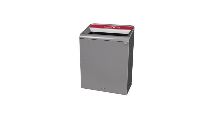 "The Configure™ Decorative Waste Containers provide a recycling solution with sleek, smooth surfaces and contoured edges. This recycling system has a modern appearance that will fit seamlessly into any indoor or outdoor commercial environment. Please note: this SKU is a Configure™ 1-Stream 45 Gallon container with a ""Plastic"" label."