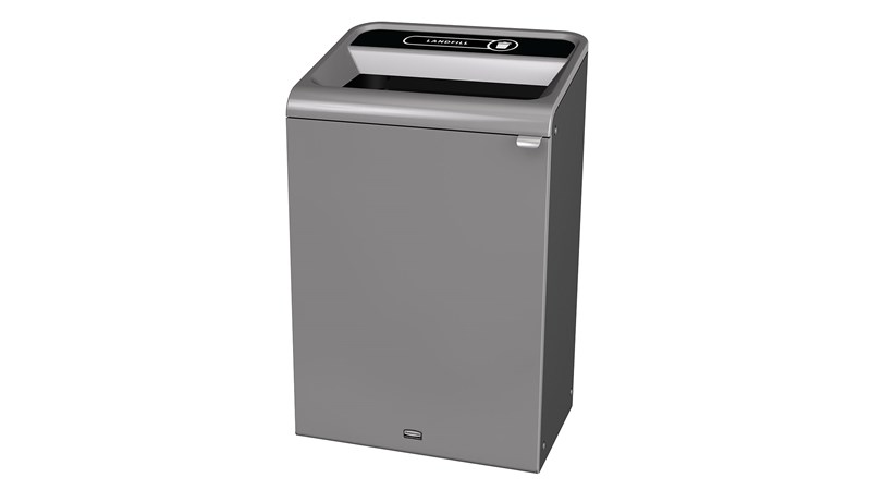 """The Configure™ Decorative Waste Containers provide a recycling solution with sleek, smooth surfaces and contoured edges. This recycling system has a modern appearance that will fit seamlessly into any indoor or outdoor commercial environment. Please note: this SKU is a Configure™ 1-Stream 33 Gallon container with a """"Landfill"""" label."""