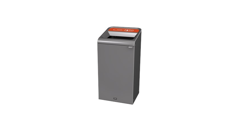 "The Configure™ Decorative Waste Containers provide a recycling solution with sleek, smooth surfaces and contoured edges. This recycling system has a modern appearance that will fit seamlessly into any indoor or outdoor commercial environment. Please note: this SKU is a Configure™ 1-Stream 23 Gallon container with a ""Glass"" label."