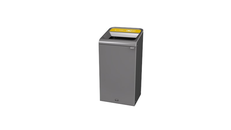 """The Configure™ Decorative Waste Containers provide a recycling solution with sleek, smooth surfaces and contoured edges. This recycling system has a modern appearance that will fit seamlessly into any indoor or outdoor commercial environment. Please note: this SKU is a Configure™ 1-Stream 23 Gallon container with a """"Cans"""" label."""