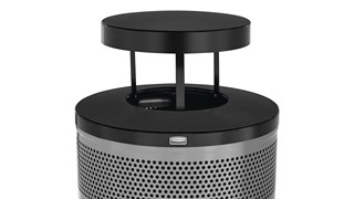 The heavy-duty Classics 51 Gallon FGS55 Open Top Decorative Waste Container has a perforated steel design for a clean and modern appearance