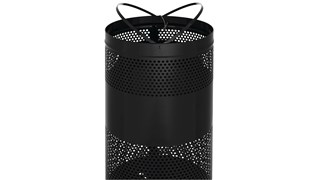 The heavy-duty Classics 25 Gallon FGS3 Open Top Decorative Waste Container has a perforated steel design for a clean and modern appearance