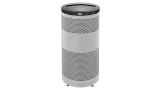 The heavy-duty, 25 Gallon Classics Decorative Recycling Container has a perforated steel design for a clean and modern appearance