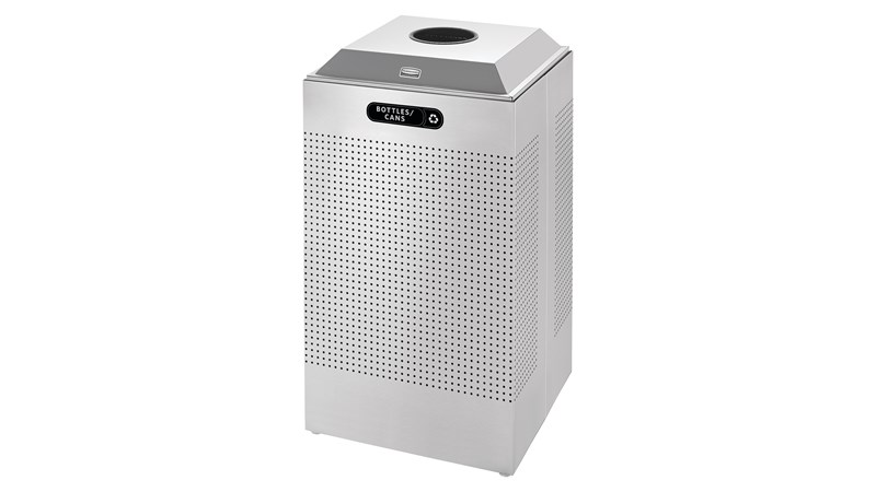 The sleek Silhouettes 29 Gallon FGDCR24 Decorative Square Indoor Recycling Container has a contemporary perforated pattern designed to seamlessly and beautifully blend with modern facilities and environments. High-quality materials and craftsmanship ensure containers can withstand the rigors of everyday use.