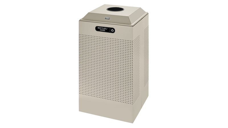 The sleek Silhouettes 29 Gallon FGDCR24 Decorative Square Indoor Recycling Container has a contemporary perforated pattern designed to seamlessly and beautifully blend with modern facilities and environments. High-quality materials and craftsmanship ensur