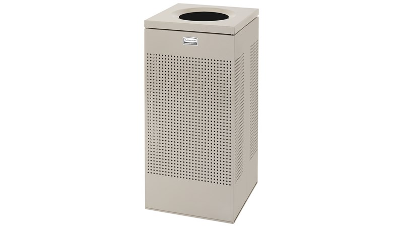The sleek Silhouettes 16 Gallon FGSC14 Decorative Square Indoor Waste Container has a contemporary perforated pattern designed to seamlessly and beautifully blend with modern facilities and environments. High-quality materials and craftsmanship ensure containers can withstand the rigors of everyday use.