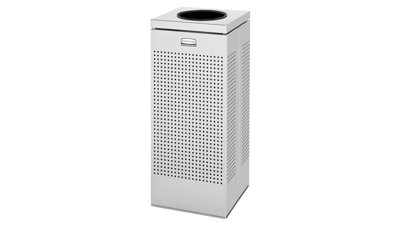 The sleek Silhouettes 10 Gallon FGSC10 Decorative Square Indoor Waste Container has a contemporary perforated pattern designed to seamlessly and beautifully blend with modern facilities and environments. High-quality materials and craftsmanship ensure containers can withstand the rigors of everyday use.