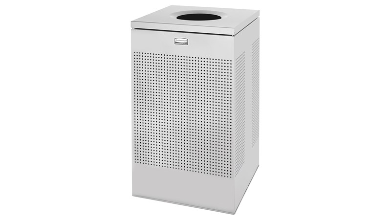 The sleek Silhouettes 29 Gallon FGSC18 Decorative Square Indoor Waste Container has a contemporary perforated pattern designed to seamlessly and beautifully blend with modern facilities and environments. High-quality materials and craftsmanship ensure containers can withstand the rigors of everyday use.