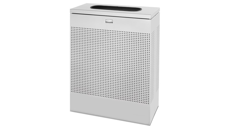 The sleek Silhouettes 22.5 Gallon FGSR18 Decorative Rectangle Indoor Waste Container has a contemporary perforated pattern designed to seamlessly and beautifully blend with modern facilities and environments. High-quality materials and craftsmanship ensur