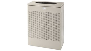 The sleek Silhouettes 40 Gallon FGSR18 Decorative Rectangle Indoor Waste Container has a contemporary perforated pattern designed to seamlessly and beautifully blend with modern facilities and environments. High-quality materials and craftsmanship ensure
