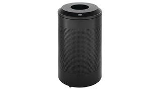 The sleek Silhouettes 26 Gallon FGDRR24 Decorative Round Indoor Recycling Container has a contemporary perforated pattern designed to seamlessly and beautifully blend with modern facilities and environments.