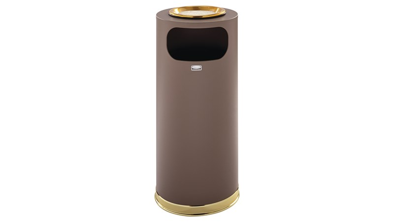 The Metallic Series 15 Gallon FGSO17SU Indoor Waste Container has a sleek design that blends nicely with upscale interiors.