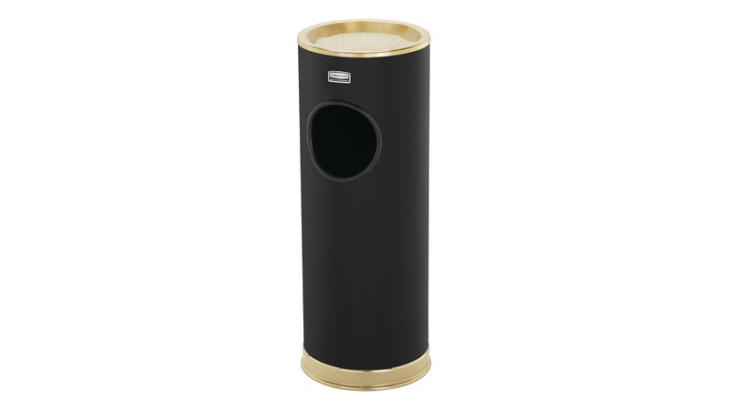 The Metallic Series 3.5 Gallon FG1100 Indoor Waste Container has a sleek design that blends nicely with upscale interiors.