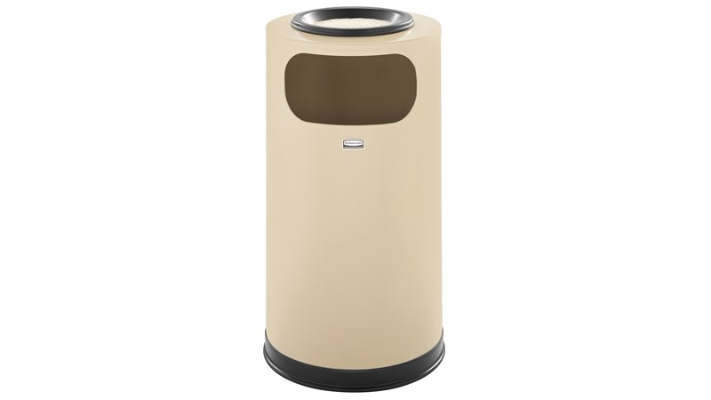 The Metallic Series 12 Gallon FGSO16SU Indoor Waste Container has a sleek design that blends nicely with upscale interiors.