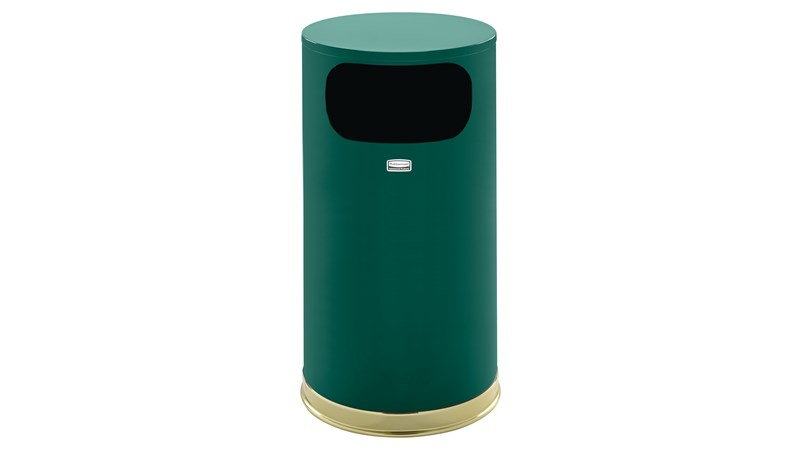 The Metallic Series 12 Gallon FGSO16 Indoor Waste Container is made from heavy-gauge, fire-safe steel with a sleek design that blends nicely with upscale interiors.