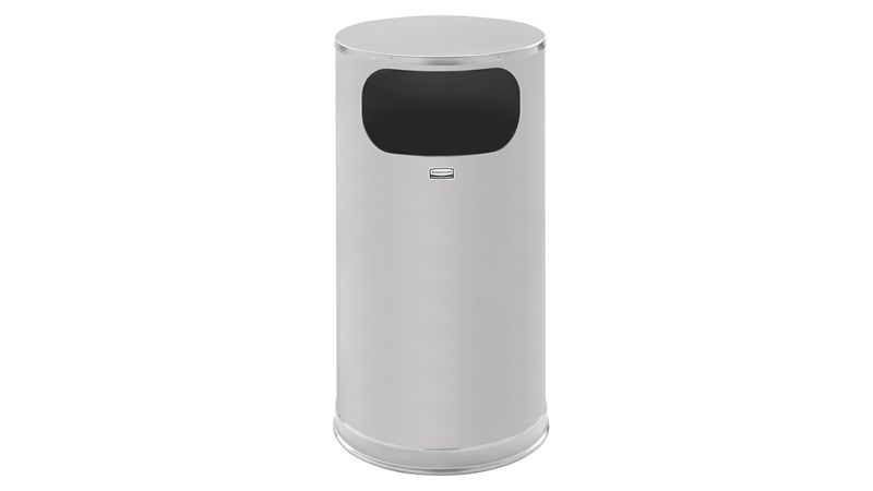 The Metallic Series 12 Gallon FGSO16 Indoor Waste Container has a sleek design that blends nicely with upscale interiors.