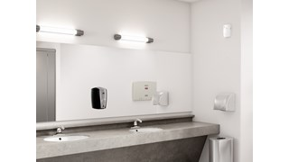 The AutoFoam Dispenser is a touch-free, wall-mounted system that dispenses controlled amounts of foam soap or sanitizer automatically to help prevent the spread of germs.