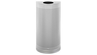 The Half Rounds Series indoor decorative waste container fits flush against walls to conserve space and reduce obstructions in high-traffic areas. The sleek and functional design of this receptacle blends seamlessly with upscale and modern indoor facilities.