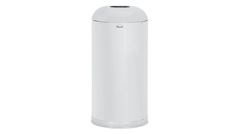 Featuring a classic, round top design, the Round Top 15 Gallon FGR1536 Round Top Decorative Indoor Waste Container is constructed from heavy-gauge, fire-safe steel and complies with OSHA standards.