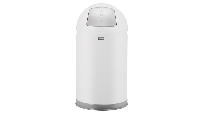 The Round Tops Push Door decorative refuse container have a classic, sleek design that beautifully blend into any indoor environment and open top for easy waste disposal.