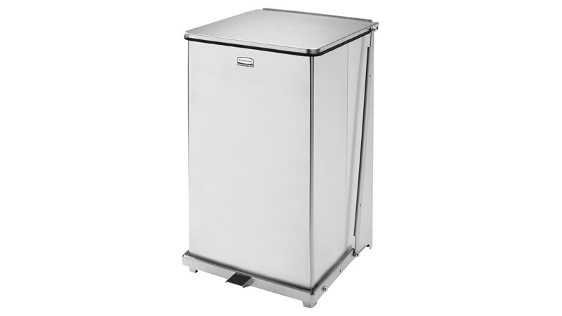 Engineered to close without a sound, the Silent Defenders® 25 Gallon FGQST40E Square Indoor Step-On Container is perfect for hospitals, doctor's offices and other healthcare facilities.