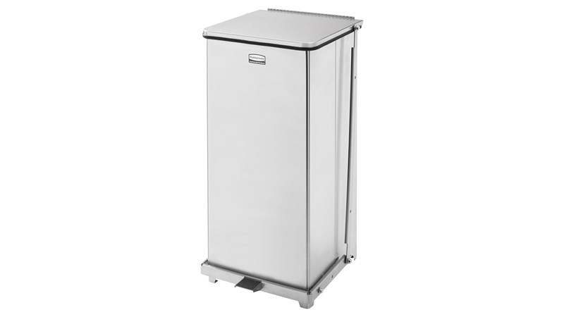 Engineered to close without a sound, the Silent Defenders® 24 Gallon FGQST24E Square Indoor Step-On Container is perfect for hospitals, doctor's offices and other healthcare facilities.