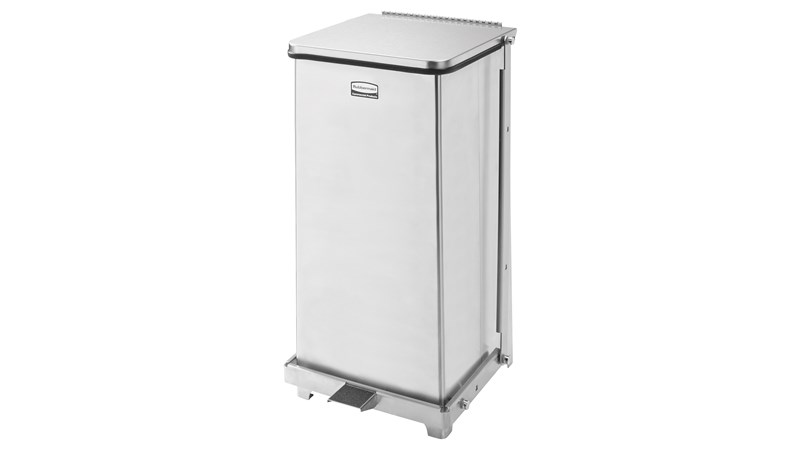 Engineered to close without a sound, the Silent Defenders® 6.5 Gallon FGQST12E Square Indoor Step-On Container is perfect for hospitals, doctor's offices and other healthcare facilities.