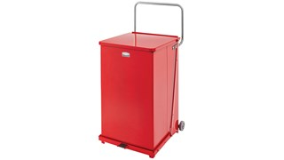Engineered to close without a sound, the Silent Defenders® 25 Gallon FGQST40EW Square Indoor Step-On Container with Wheels is perfect for hospitals, doctor's offices and other healthcare facilities.