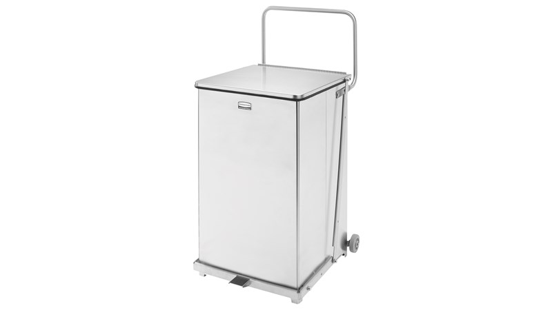 Engineered to close without a sound, the Silent Defenders® 25 Gallon FGQST40SW Square Indoor Step-On Container with Wheels is perfect for hospitals, doctor's offices and other healthcare facilities.