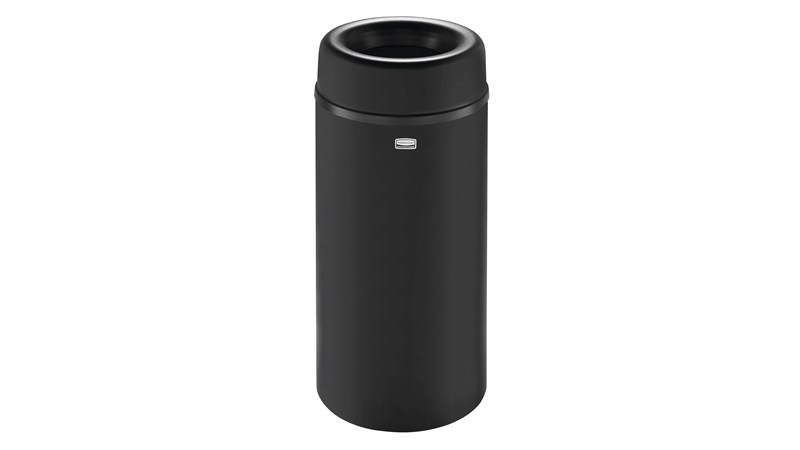 The Crowne Collection 12 Gallon FGAOT15 Decorative Indoor Waste Container has an attractive contemporary design with a curved open top that prevents objects from being placed on top of the can, keeping a neater overall appearance.