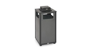 The Dimension Series 24 Gallon FGR18 decorative outdoor waste container's perforated steel panels create an upscale, dimensional look that complements contemporary outdoor enviornments.