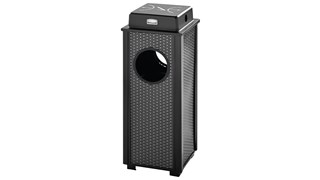 The Dimension Series 2.5 Gallon FGR41 Decorative Outdoor Waste Container is made from heavy-gauge, fire-safe steel designed to stand up to heavy use and harsh weather conditions while providing years of reliable outdoor service.