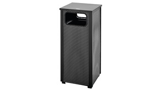 The Dimension Series 12 Gallon FGR12 Decorative Outdoor Waste Container is made from heavy-gauge, fire-safe steel designed to stand up to heavy use and harsh weather conditions while providing years of reliable outdoor service