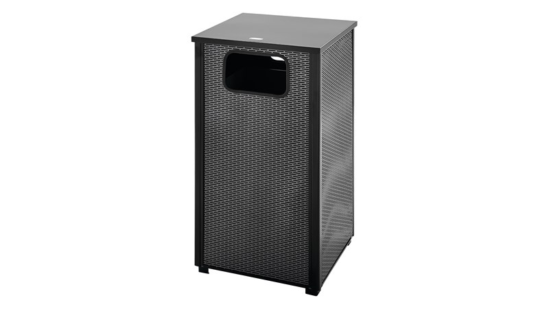 The Dimension Series 24 Gallon FGR18 Decorative Outdoor Waste Container is made from heavy-gauge, fire-safe steel designed to stand up to heavy use and harsh weather conditions while providing years of reliable outdoor service