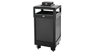 The Dimension Series 29 Gallon FGR36 Decorative Outdoor Waste Container is made from heavy-gauge, fire-safe steel designed to stand up to heavy use and harsh weather conditions while providing years of reliable outdoor service