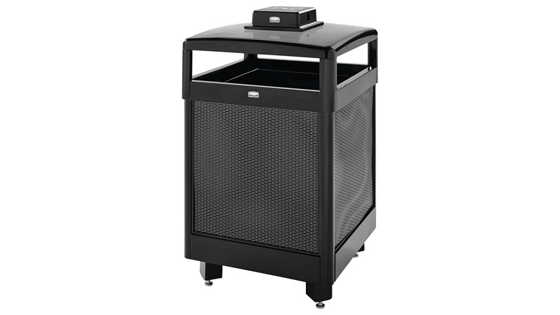 The Dimension Series 38 Gallon FGR38 Decorative Outdoor Waste Container is made from heavy-gauge, fire-safe steel designed to stand up to heavy use and harsh weather conditions while providing years of reliable outdoor service