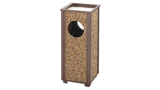 The Aspen Series 2.5 Gallon FGR41 Decorative Outdoor Waste Container is made from heavy-gauge, fire-safe steel designed to stand up to heavy use and harsh weather conditions while providing years of outdoor service.
