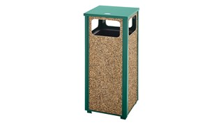 The Aspen Series 12 Gallon FGR12 Decorative Outdoor Waste Container is made from heavy-gauge, fire-safe steel designed to stand up to heavy use and harsh weather conditions while providing years of outdoor service