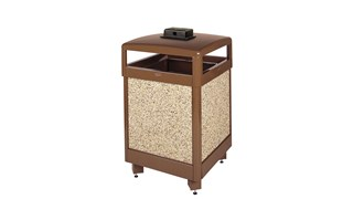 The Aspen Series 48 Gallon  Decorative Outdoor Waste Container is made from heavy-gauge, fire-safe steel designed to stand up to heavy use and harsh weather conditions while providing years of outdoor service.