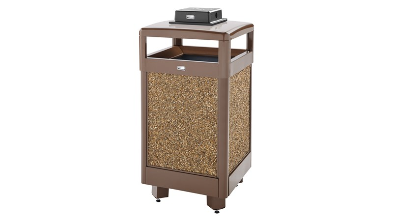 The Aspen Series 29 Gallon Decorative Outdoor Waste Container is made from heavy-gauge, fire-safe steel designed to stand up to heavy use and harsh weather conditions while providing years of outdoor service