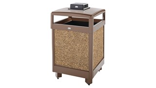 The Aspen Series 38 Gallon Decorative Outdoor Waste Container is made from heavy-gauge, fire-safe steel designed to stand up to heavy use and harsh weather conditions while providing years of outdoor service