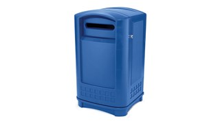 The Rubbermaid Commercial Plaza Jr. Trash Can offers contemporary styling with a side-opening door for ergonomic waste emptying.