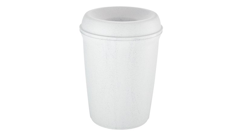 The Rubbermaid Commercial Atrium® Classic Trash Can features a funnel-top for easy, hands-free use.