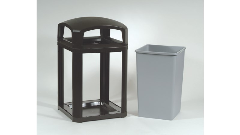 The Landmark Series® Classic Container has a dome frame, lock option and comes with a rigid liner. It is an ideal solution for high-volume outdoor waste collection with the addition of locking capability for added security.