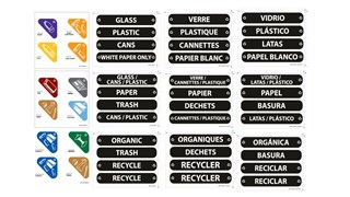 Label kit for Glutton® Recycling Station  includes 12 color coded options of waste stream labels